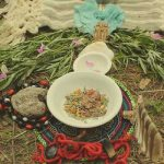 herb offering in sacred ceremony